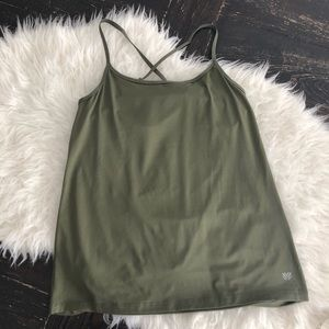 Forever 21 olive green mesh open back workout tank